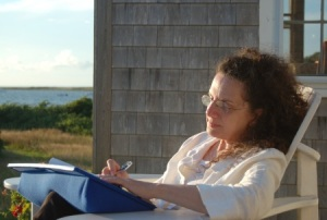 linda_writing_at_cape_poge_450x303